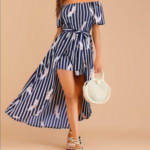 Stripe And Crane Print Off The Shoulder Dress